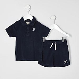 Mini - Outfit met marineblauwe badstoffen short met RI-logo voor jongens