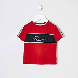 Mini - Rood T-shirt met geborduurd RI-logo voor jongens
