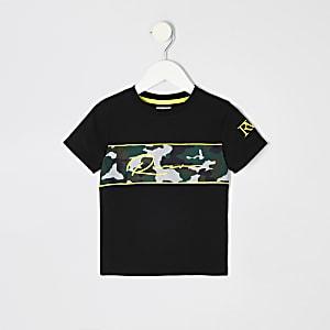 Mini - Zwart geborduurd T-shirt met camouflageprint voor jongens