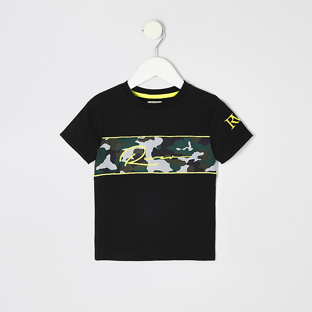 Mini boys black camo embroidered T-shirt