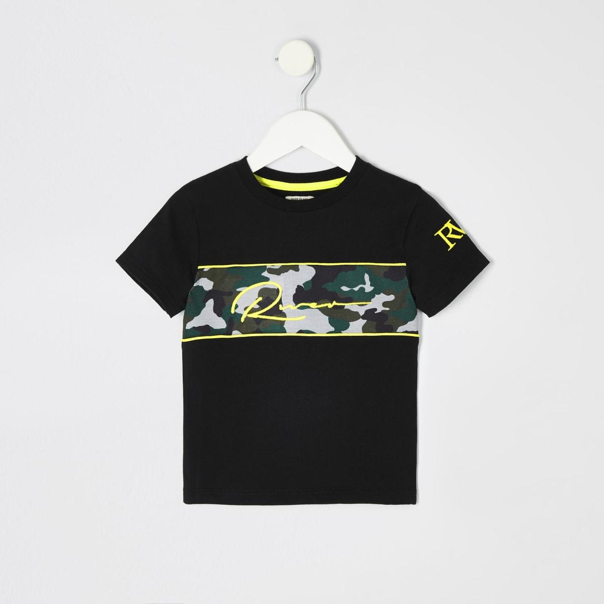Mini boys black camo embroidered T-shirt
