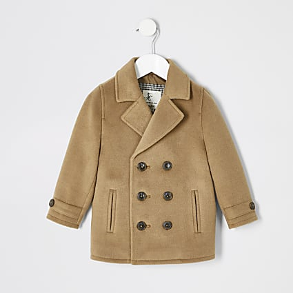 Mini boys camel brown peacoat