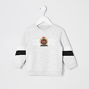 Mini - Grijs gemêleerd geborduurd sweatshirt voor jongens
