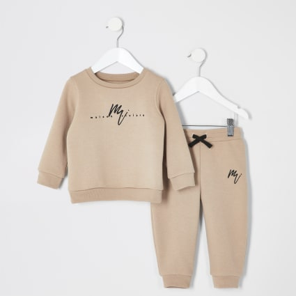 Mini boys stone embroidered sweatshirt outfit