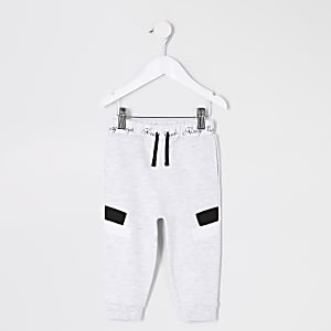 Mini - Grijze gemêleerde joggingbroek met paneel voor jongens
