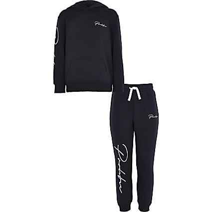 Boys navy 'Prolific' hoodie outfit