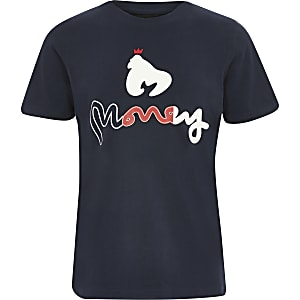 T-shirt bleu marine logo Money Clothing garçon