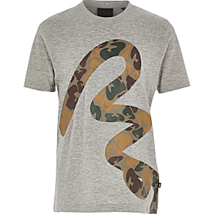 T-shirt camouflage gris Money Clothing pour garçon