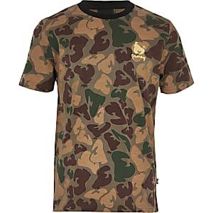 Money Clothing – Grünes T-Shirt mit Camouflage-Muster für Jungen