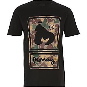 T-shirt imprimé camouflage noir Money Clothing pour garçon