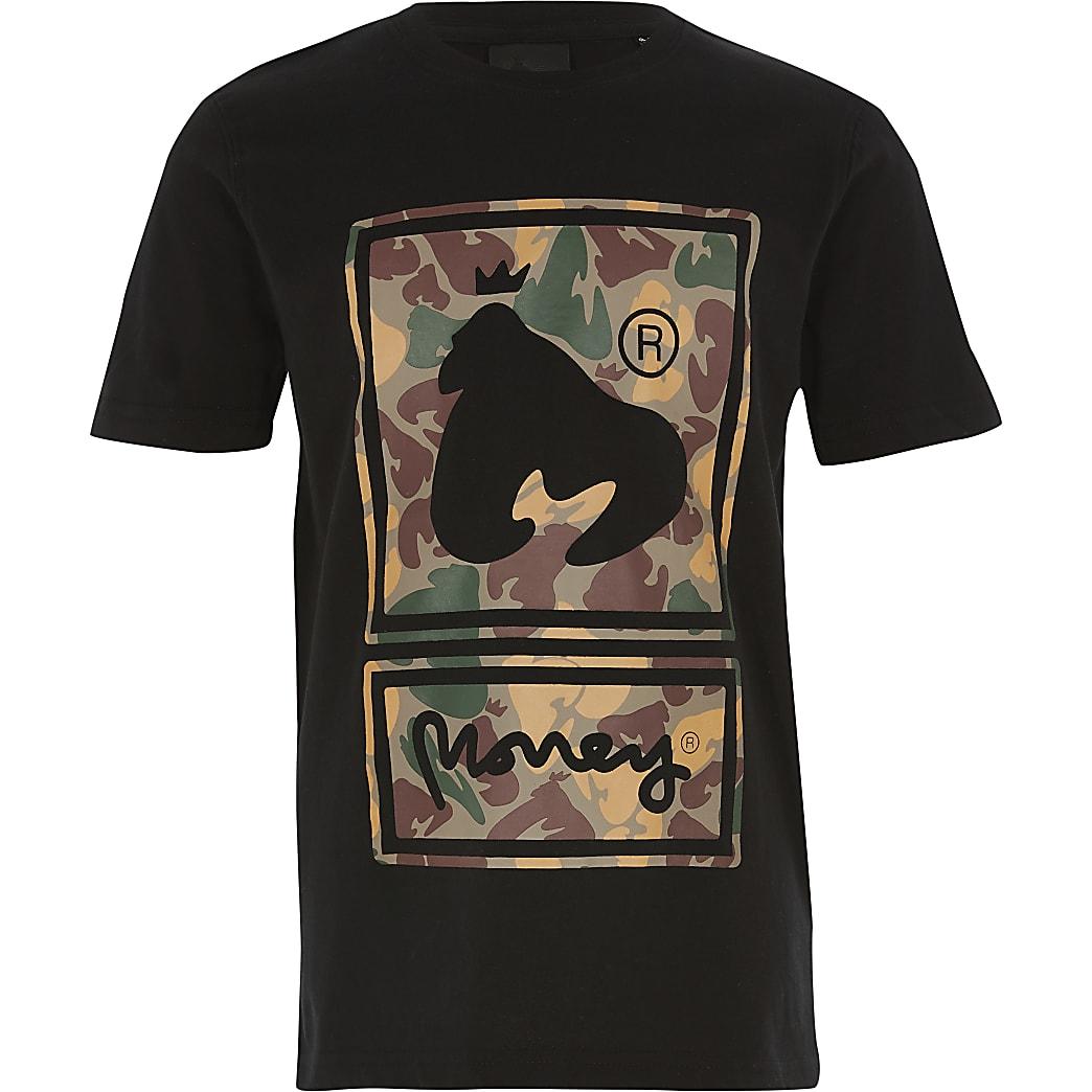 Money Clothing – Schwarzes T-Shirt mit Camouflage-Print für Jungen