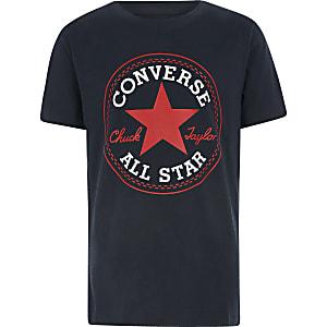 Converse – Marineblaues T-Shirt mit Logo