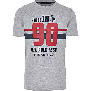 U.S. Polo – T-shirt imprimé gris pour garçon