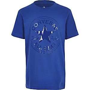Blauw Converse T-shirt met glimmend logo voor jongens