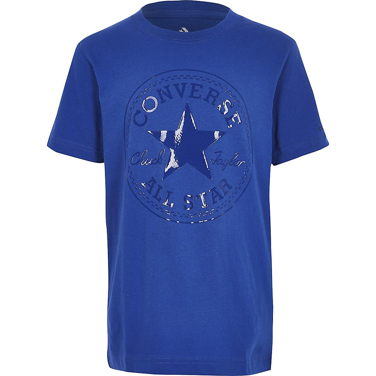 Boys blue Converse shiny logo T-shirt