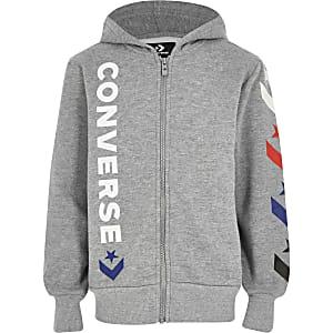 Converse - Sweatà capuche gris avec logo de l'étoilepour garçon