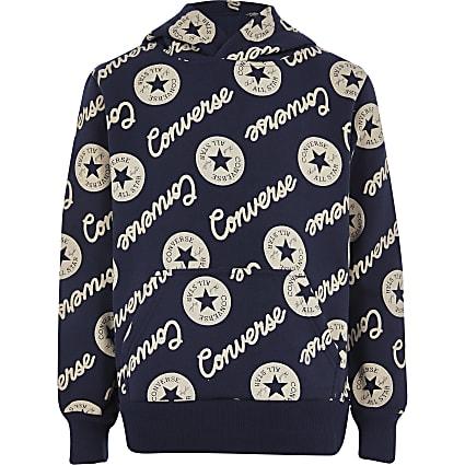 Boys black Converse signature logo hoodie