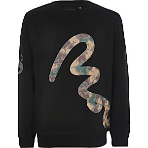 Money Clothing – Schwarzes Sweatshirt für Jungen mit Camouflageprint