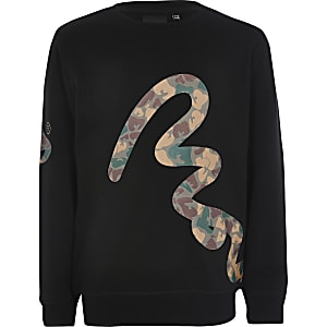 Money Clothing - Zwart sweatshirt met camouflageprint voor jongens