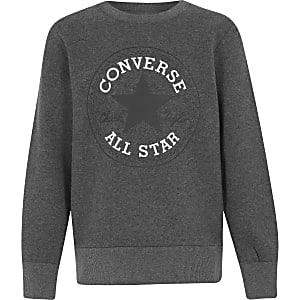 Converse - Grijze pullover met logo en ronde hals voor jongens