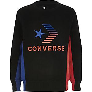 Schwarzes Converse Sweatshirt mit kontrastfarbenem Logo für Jungen