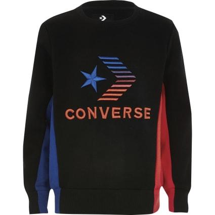 Boys Converse black contrast logo sweatshirt