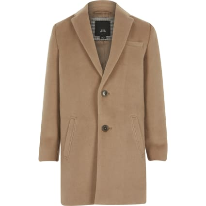 Boys camel brown single breasted overcoat
