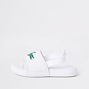 Mini kids Lacoste white embossed sliders