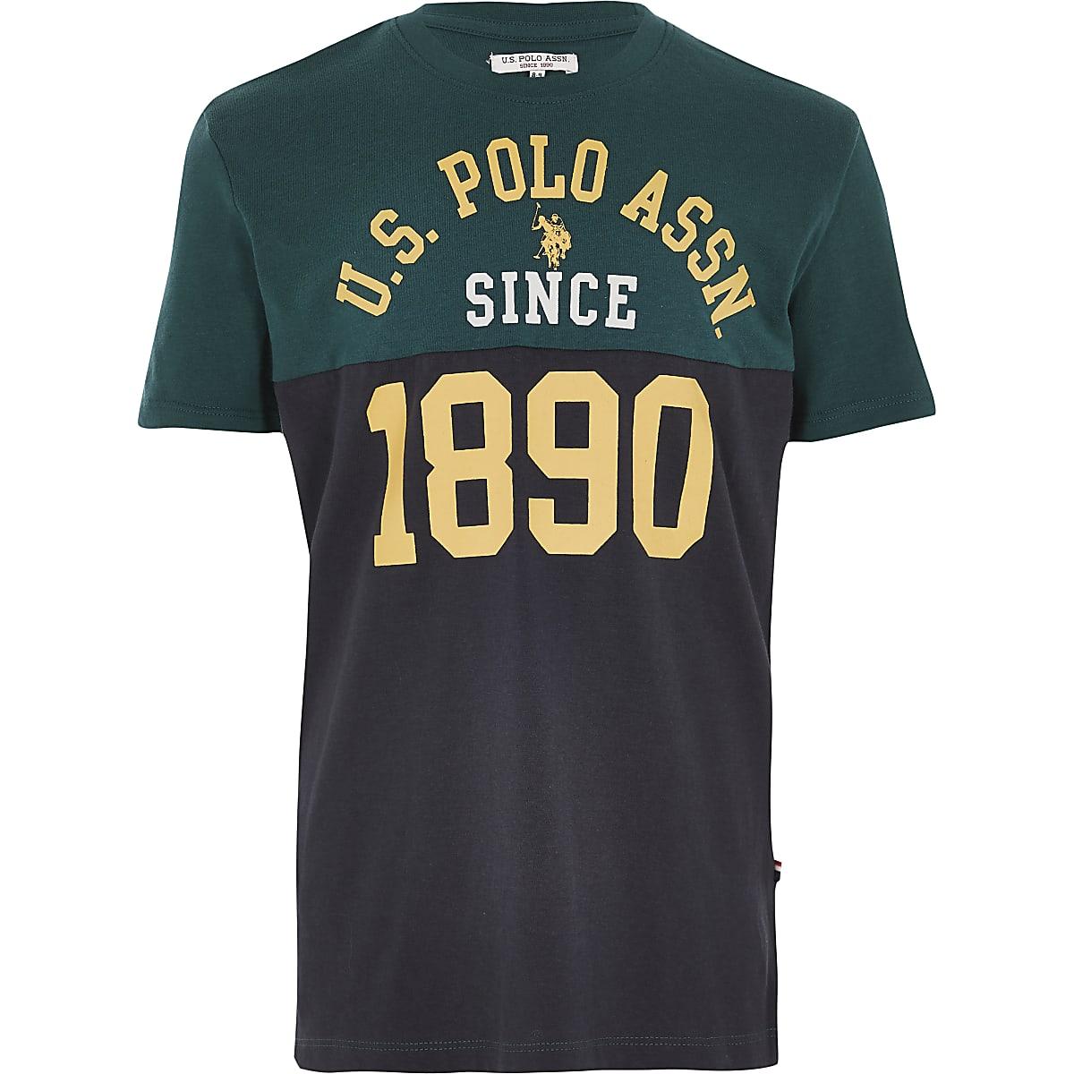 Boys U.S. Polo Assn. navy blocked T-shirt
