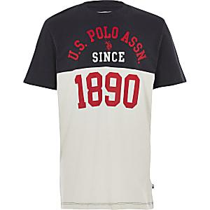 U.S. Polo Assn. - Wit T-shirt met kleurvlakken voor jongens