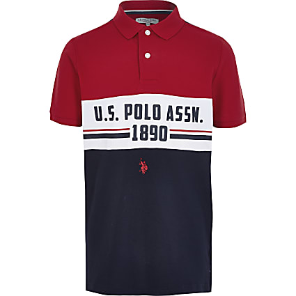 Boys red blocked U.S. Polo Assn. polo shirt