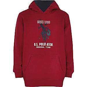 U.S. Polo Assn. ‒ Roter Hoodie mit Logo für Jungen