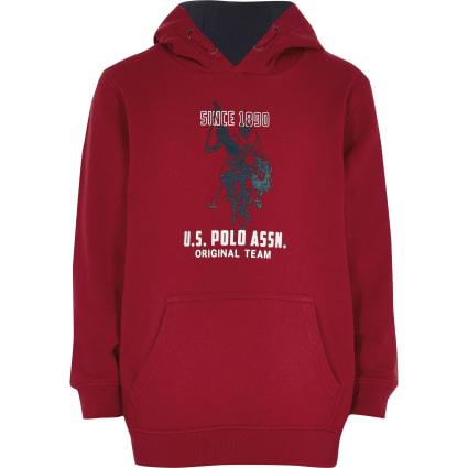 Boys U.S. Polo Assn. red logo hoodie