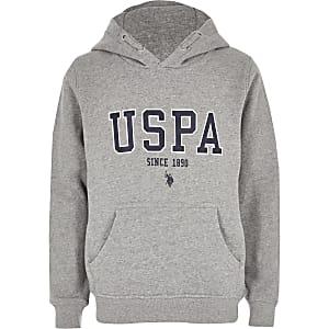 U.S. Polo Assn. - Grijze hoodie voor jongens