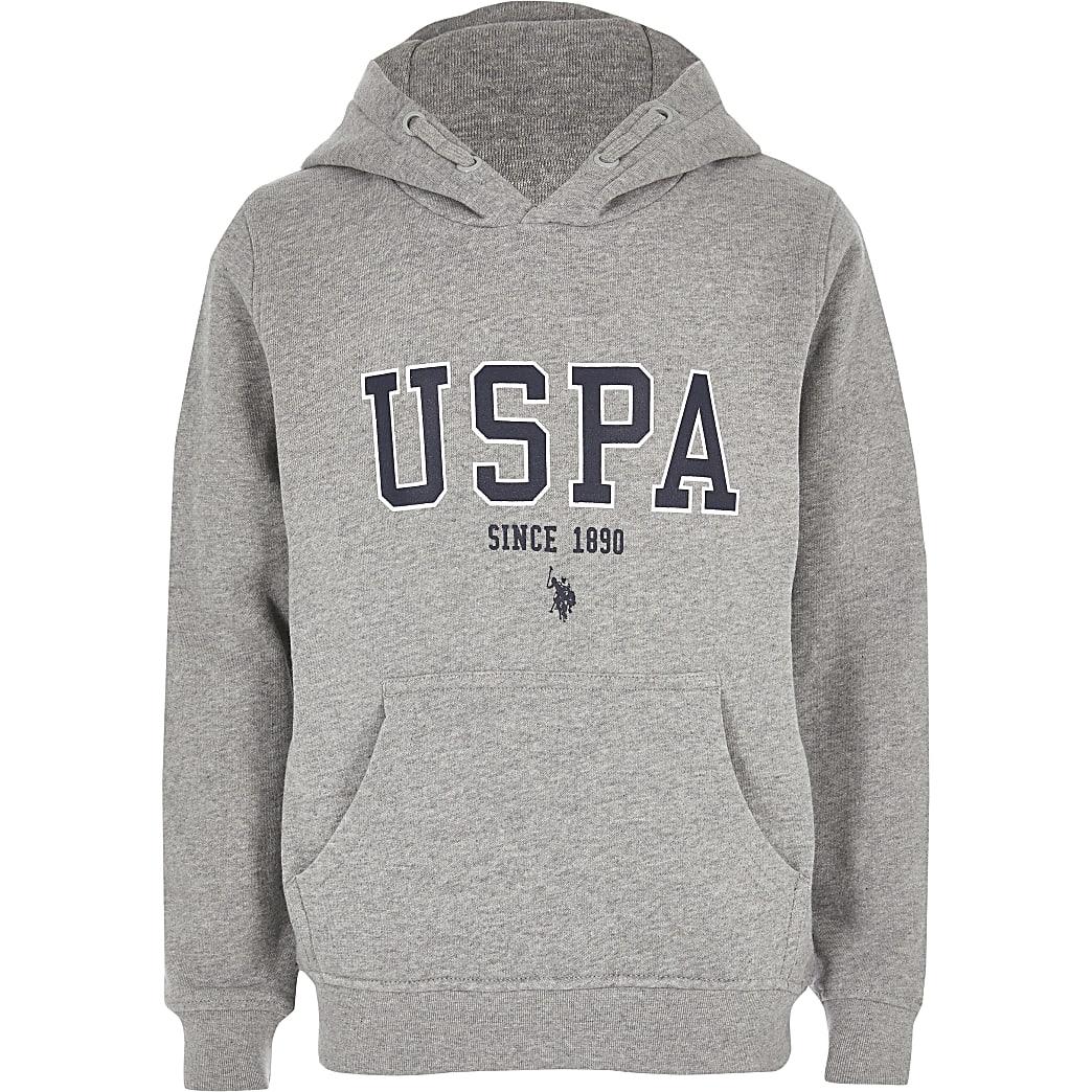 U.S. Polo Assn. – Sweat à capuche gris pour garçon