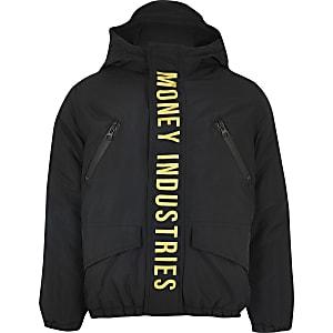 Money Clothing - Zwarte gewatteerde jas voor jongens