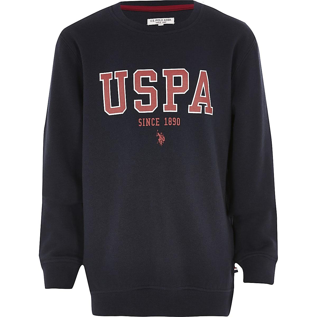 Boys U.S. Polo Assn. navy branded sweatshirt