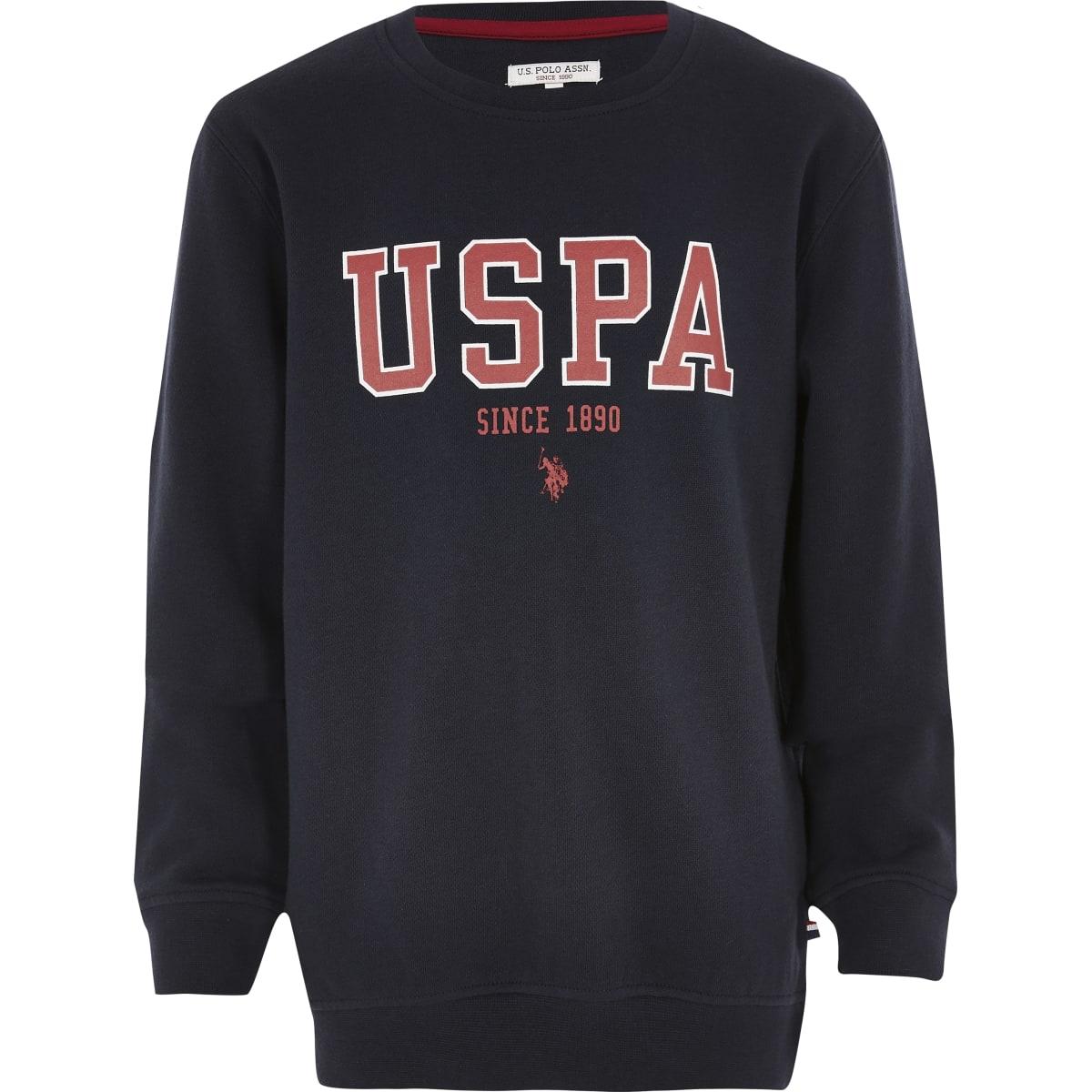 Marineblauw sweatshirt met U.S. Polo Assn.-logo voor jongens