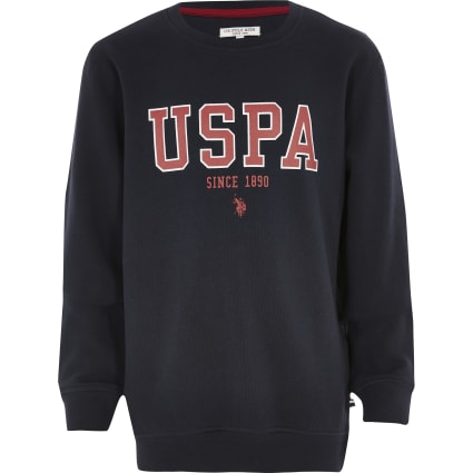 Boys U.S. Polo Assn. navy branded sweatshirt
