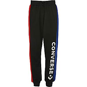 Converse - Pantalons de jogging noir colour block pour garçon