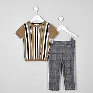Mini - Outfit met bruin gestreept T-shirt voor jongens