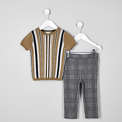 Mini boys brown stripe T-shirt outfit