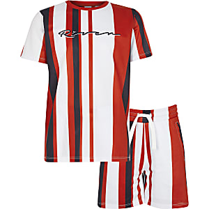 Boys red stripe mesh shorts outfit