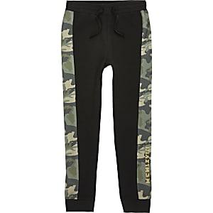 Pantalons de jogging motif camouflage noir pour garçon