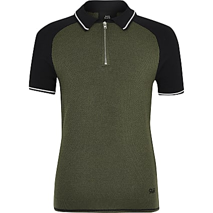 Boys khaki block zip polo shirt