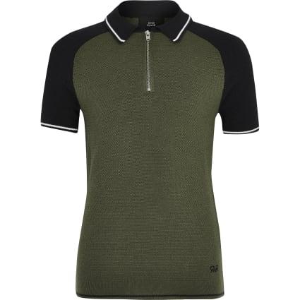Boys khaki block zip polo shirt