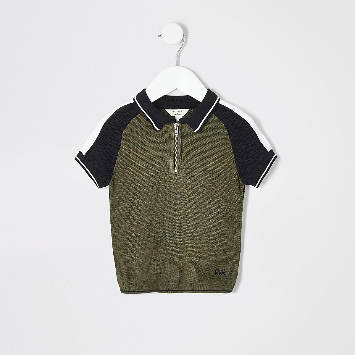 Polohemd in Khaki mit Reißverschluss