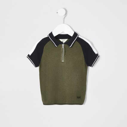 Mini boys khaki blocked zip polo shirt
