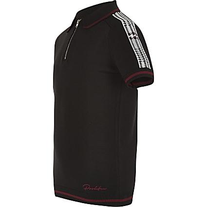 Boys black zip polo shirt