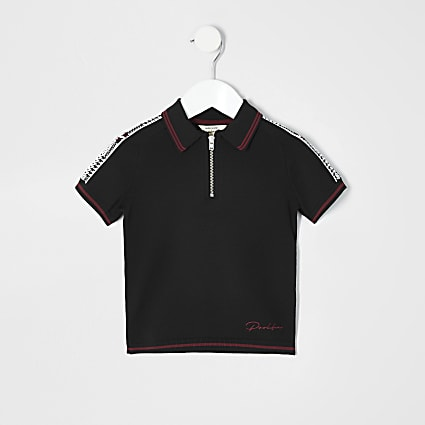 Mini boys black zip polo shirt